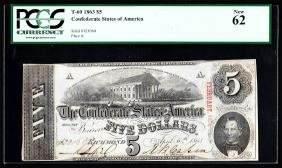 1863 $5 The Confederate States Of America Note PCGS New