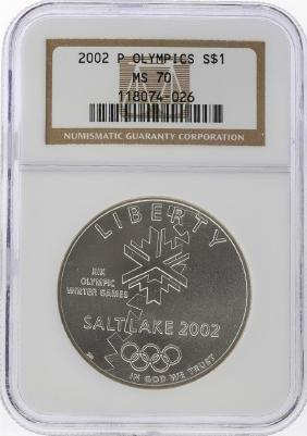 2002-P $1 Salt Lake Olympics Silver Coin NGC MS70