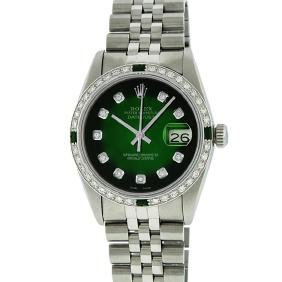 Rolex Mens Stainless Steel Emerald And Diamond Datejust