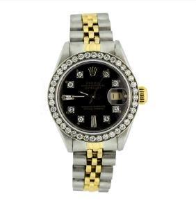 Rolex Ladies Two Tone 14kt Gold 1.00ctw Diamond