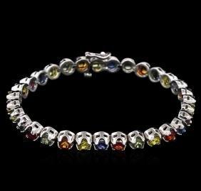 14KT White Gold 11.30ctw Multi Color Sapphire Bracelet