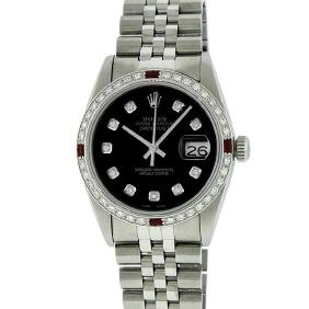 Rolex Mens Stainless Steel Ruby And 1.20ctw Diamond