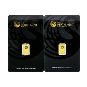 Set Of (2) 1 Gram Perth Mint Australia Gold Ingot Cards
