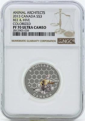 2013 Canada $3 Bee & Hive Colorized Silver Coin PF70