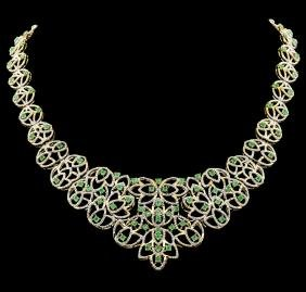 SILVER 7.20ctw Emerald And Diamond Necklace