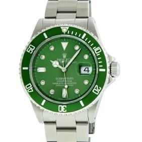Rolex Stainless Steel Green Submariner Mens Wristwatch