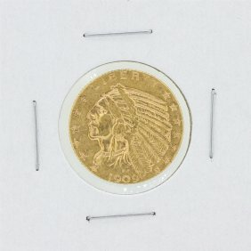 1909 $5 Xf Indian Head Gold Coin