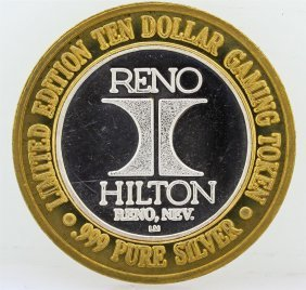 Hilton Reno $10 Casino Gaming Token .999 Fine Silver