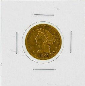 1880-s $5 Vf Liberty Head Gold Coin