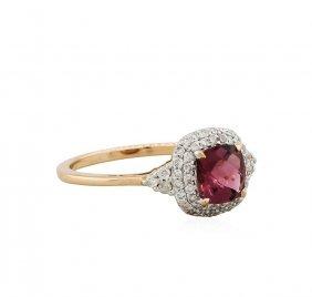 14kt Rose Gold 0.90ct Tourmaline And Diamond Ring