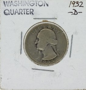 1932-d Washington Quarter Key Date Silver Coin