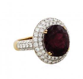 18kt Rose Gold 9.32ct Tourmaline And Diamond Ring