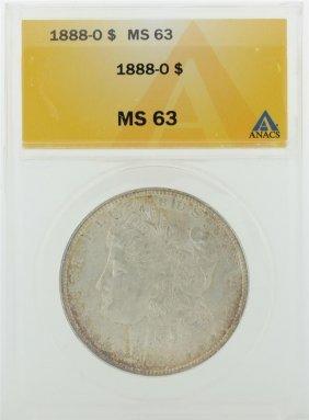 1888-o $1 Morgan Silver Dollar Anacs Graded Ms63