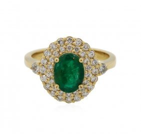 14kt Yellow Gold 1.45ct Emerald And Diamond Ring