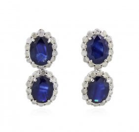14kt White Gold 4.50ctw Sapphire And Diamond Earrings