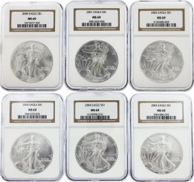 Set Of (6) 2000-2005 $1 Silver Eagle Coins Ngc Graded
