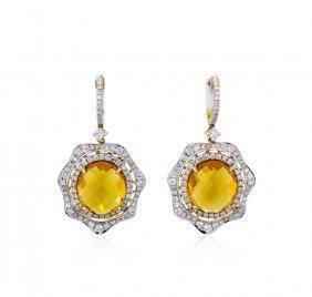 14kt Yellow Gold 14.91ctw Citrine And Diamond Dangle