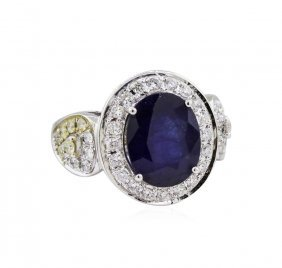 14kt White Gold 4.86ct Sapphire And Diamond Ring