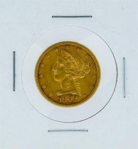 1902-s $5 Vf Liberty Head Half Eagle Gold Coin