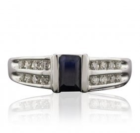 14kt White Gold 0.25ct Sapphire And Diamond Ring