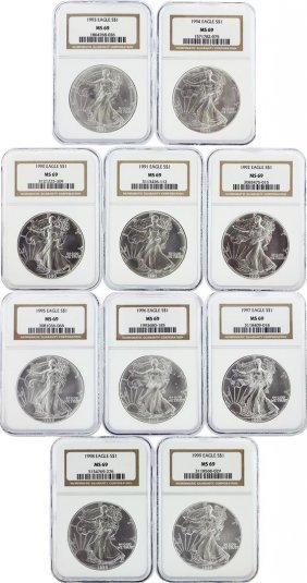 Set Of (10) 1990-1999 $1 Silver Eagle Coins Ngc Graded