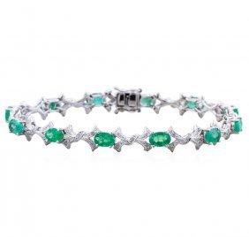 14kt White Gold 5.57ct Emerald And Diamond Bracelet