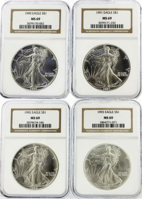 Set Of (4) 1990-1993 $1 Silver Eagle Coins Ngc Graded