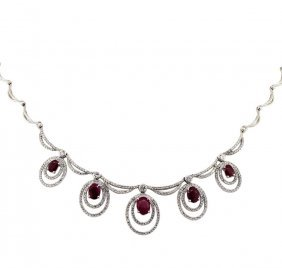 14kt White Gold 4.85ctw Ruby And Diamond Necklace