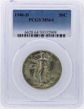 1946-d Walking Liberty Half Dollar Silver Coin Pcgs