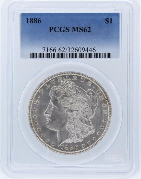 1886 Pcgs Ms62 Morgan Silver Dollar