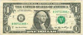 2006 $1 Error Mismatched Serial Number Frn Star Note