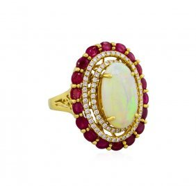18kt White Gold 5.27ct Opal, Ruby And Diamond Ring