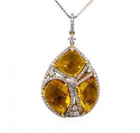 14kt Yellow Gold 14.16ctw Citrine And Diamond Pendant