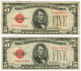 1928 $5 Red Seal Note Lot Of 2