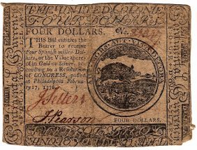 1776 $4 Colonial Currency Note