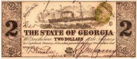 1864 $2 State Of Georgia Confederate Currency Note