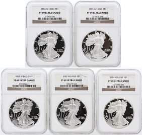 5 Coin Set 2001-2005 Silver Eagle Coins Ngc Pf69 Ultra