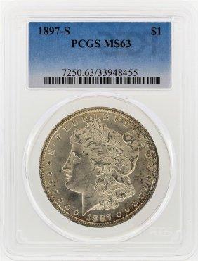 1897-s $1 Morgan Silver Dollar Pcgs Graded Ms63