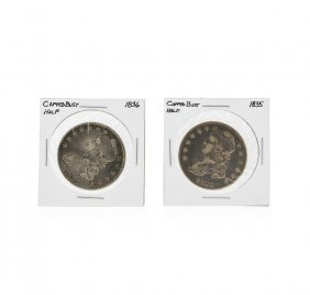 1835 And 1836 Silver Capped Bust Half Dollar Coin Set