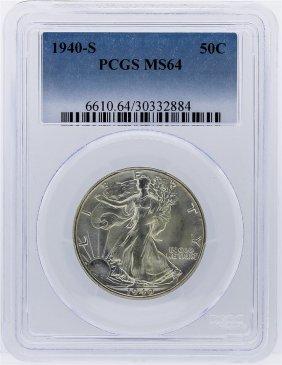 1940-s Liberty Walking Half Dollar Pcgs Graded Ms64