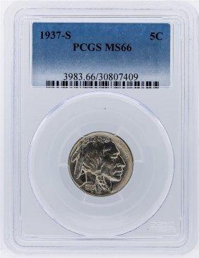 1937-s Buffalo Nickel Coin Pcgs Graded Ms66