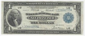 1918 $1 National Currency Federal Reserve Bank Of San