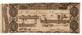 1808 $5 Farmers Ex. Bank Rhode Island Obsolete Bank