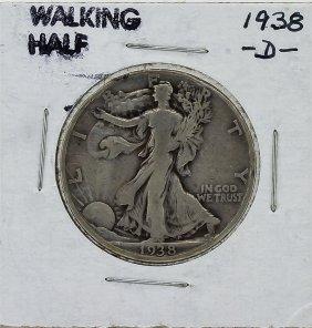1938-d Walking Liberty Half Dollar Silver Coin