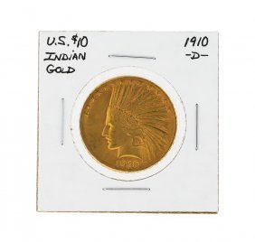 1910-d $10 Indian Head Gold Coin