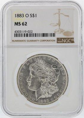 1883-o $1 Morgan Silver Dollar Ngc Graded Ms62
