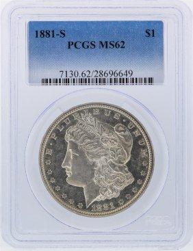 1881-s $1 Morgan Silver Dollar Pcgs Graded Ms62