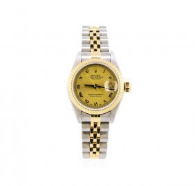 Ladies Two-tone Rolex Datejust Watch With Box & Papers