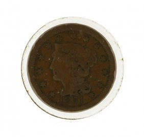 1851 Large Cent Braided Hair Coin