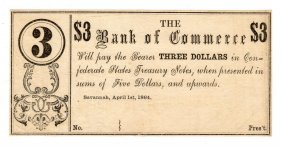 1864 $3 The Bank Of Commerce Savannah, Georgia Note